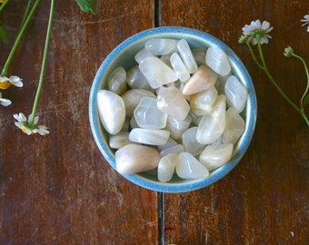 Tumbled Moonstone Healing Crystal Gemstone Cream Silver Moonstone Womens Health Balance Intuition Meditation Reiki Pocket Stone
