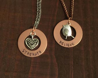 Believe Copper Washer Necklace-Strength Copper Washer Necklace- Inspiration Jewelry-Hand Stamped Jewelry-Bird Necklace-Heart Jewelry-