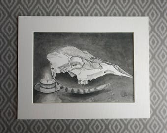 """Fine Art Print """"Deer Skull, Candle, and Feather"""" 7x5 matted to 9x7"""