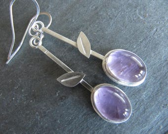 Earrings of Amethyst and Sterling Silver with Leaves