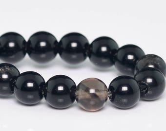 "8MM Black Obsidian Beads Grade A Natural Gemstone Half Strand Round Loose Beads 7"" BULK LOT 1,3,5,10 and 50 (101312h-861)"