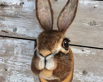 Needle felted rabbit style faux taxidermy by feltfactory