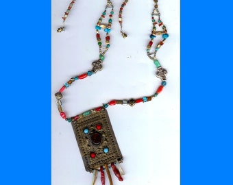 Old Brass Buckle Necklace with Coral and Turquoise