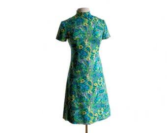 Vintage 60s aqua paisley shift dress/ green, blue, purple short sleeve dress/ 1960s mod day dress