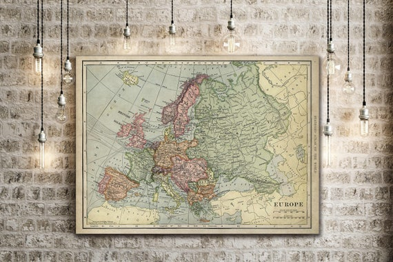 """Old map of Europe up to 43""""x 55"""" antique decor Style Decorative map Vintage map of Europe Antique Europe Map Europe Wall Art wall map"""