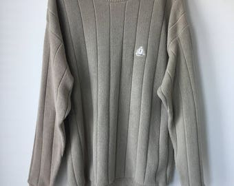 Vintage 80s Cotton Sweater Mens Izod Taupe beige pullover  crew neck  long sleeves Beach Bohemian Preppy sweater mens Medium chest 44""