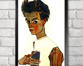 Egon Schiele Self-ie-Portrait print + 3 for 2 offer! size A3+  33 x 48 cm;  13 x 19 in