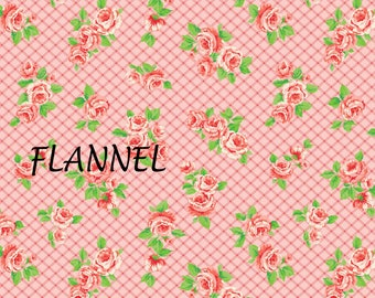 Pink & Peach Floral Flannel Fabric, Camelot Fabrics 71170102B 03 Laura Ashley, Elm Park Collection, Cotton Flannel Yardage