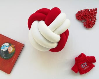 SPHERE KNOT PILLOW, knot pillow, red & white pillow, knot cushion, decorative pillow, minimalist pillow, trendy pillow, home decor