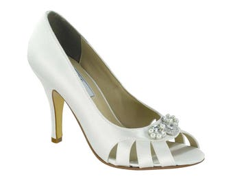 Wedding Shoes, Italian Silk Bridal, Platform Dress Shoes-Peep Toe - 3 inch Heels- 250 Custom Dye Colors