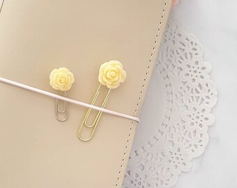 Flower Decorative Planner Clip, Bookmark or Page Marker – Yellow Rose