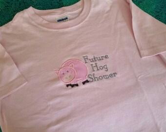 Custom youth tshirt - Livestock Pig youth t-shirt - Livestock shirt - Custom embroidered youth pig T-shirt - future hog shower shirt
