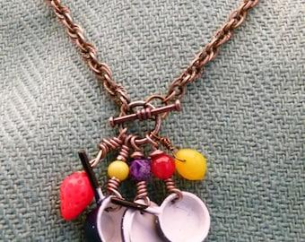 Blue Enamel Pots and Pans Necklace, N0300