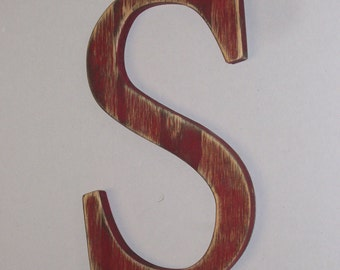 Distressed Wood Letter S -or ANY letter- 12-inch  Wall Hanging Monogram Initial