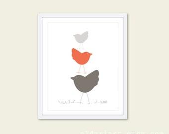 Nursery Birds Wall Art Print Three Birds in Coral Nursery Art Print - Baby Girl Art Gift