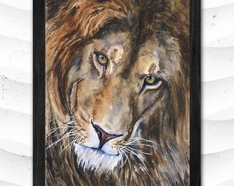 Lion watercolor Print of the Original painting Cute  Art Animals Family water Africa Bi Cat  wild cat