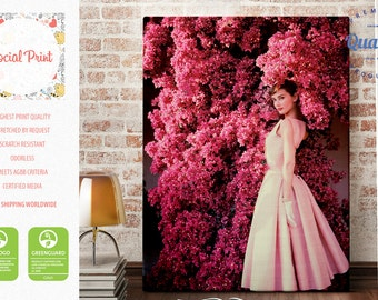 Etsy your place to buy and sell all things handmade audrey hepburn in givenchy dress canvas print free shipping style icon rose hepburn artwork giclee print wall art audrey wall hanging mightylinksfo
