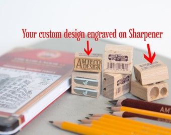 Laser engraved wooden Sharpener with 2 holes for normal and jumbo size pencils