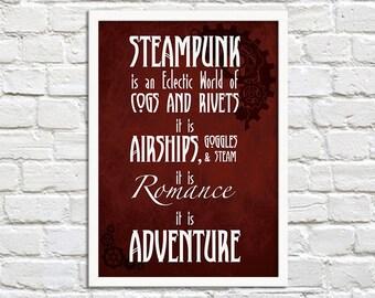 Steampunk Is Adventure - Steampunk Art Print Poster - Wall Decor, Inspirational Print, Steampunk Home Decor, Steampunk Gift, Steampunk Quote