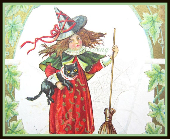 Antique Halloween Pretty Witch Postcard with Black Cat 1910s