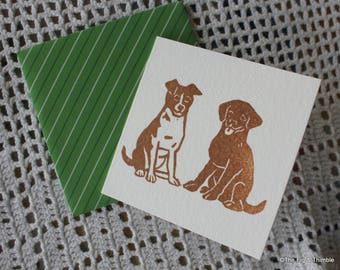 Puppy Dog Mini Cards - Set of Four Hand Stamped with Envelopes, from Original Hand Carved Stamp