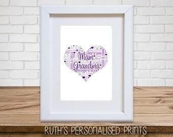 "ANY NAME Love Heart Typography Print 10x8"" Frame Mum, Nana, Friend, Personalised"