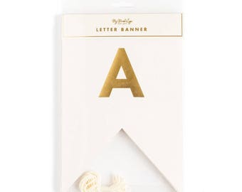 Ivory and Gold Letter Banner | My Mind's Eye Fancy Collection Letter Banner | Wedding Letter Banner | Cream and Gold Banner | Gold Banner