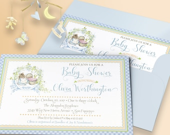 PETER RABBIT BABY Shower Invitation Hunca Munca Printable Digital Download Announcement Custom Personalized DiY 1011