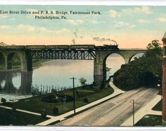 Pennsylvania Railroad Train Bridge East River Drive Fairmount Park Philadelphia PA 1915 postcard
