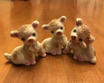 Three Cute Vintage Fifties Porcelain Puppies