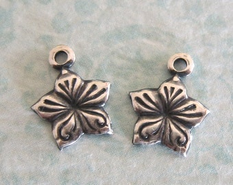 NEW 2 Tiny Silver Flower Charms 3304