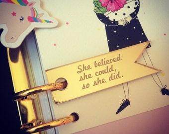 She believed... PLANNER BANNER laser cut