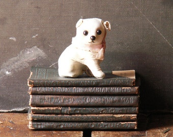 Vintage Tiny White Leather Dog - French Flea Market Find