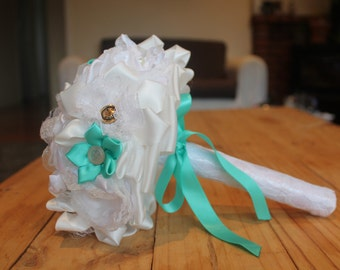 White and Aqua Wedding Bouquet