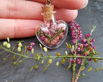 Scottish Heather, Heart Bottle Pendant, Pink, Romantic Necklace, Botanical Jewellery, Dried Flower Necklace, Bridesmaid Gifts, Bride Gift
