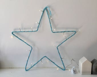 Pilot star wool turquoise blue - light Garland