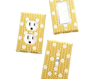 Fabric Covered Light Switch Plate Cover - All Styles - Double, Triple, GFCI, Outlet, Slider, Rocker, Toggle - Mod Floral Vines