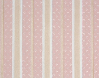 1930s Vintage Wallpaper by the Yard - Pink and White Lace Stripes