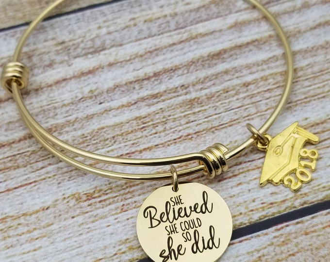 She believed she could graduation gold Customizable Expandable Bangle Charm Bracelet, graduation, high school, college,