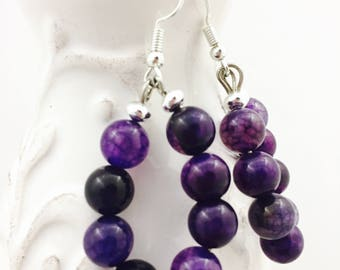 Purple Amethyst - February birthstone - Purple boho earrings - Purple hoop earrings for women - Purple beaded earrings