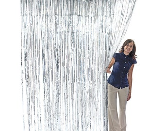 3' x 8' Silver Foil Metallic Birthday Door Curtain Photo Backdrop Prom Sequence Decor Wall Hanging glisten Tinsel Wedding Booth Decoration