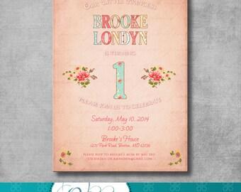 Baby Girl First Birthday Invitation - Shabby Chic - Digital File - Customizable - Floral - Printable - DIY - 5x7
