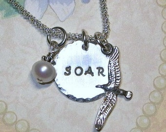 Soar Necklace, Seagull Necklace, Seagull Hand Stamped Sterling Silver Charm Necklace