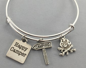 Camping - Happy Camper Jewelry - Charm Bracelet - Bangle Bracelet - Camper - Vintage Camper - Glamping - Camping Jewelry - Camping Gift