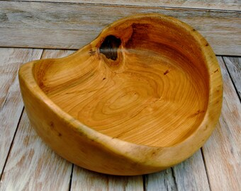 Wooden Centerpiece Bowl - Cherry Natural Edge Bowl - Rustic Bowl - Hand Carved Bowl - Cherry Bowl