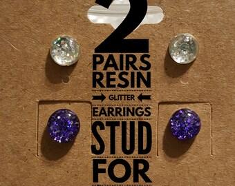 Resin Glitter Stud Earrings