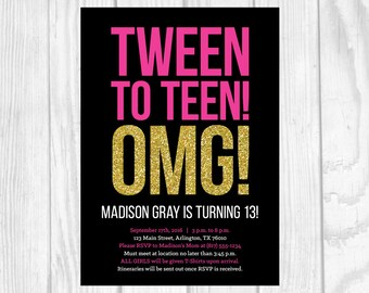 SALE Custom Printable 5x7 Tween To Teen Girl's 13th Thirteen Birthday Party Invitation - Black, Hot Pink and Gold Glitter - Digital Download