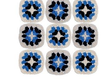 Applique granny square, crochet granny square- set of 9 ~8 cm