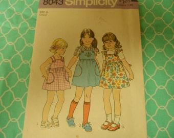 Vintage Simplicity 8043 Girls  Sun Dress Jumper  Pattern Size 6 1970's