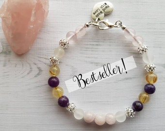 Calming Bracelet ~ Stress Relief Bracelet ~ Anxiety Bracelet ~ Rose Quartz Bracelet ~ Anxiety Jewellery Lepidolite Kunzite Rutilated Quartz